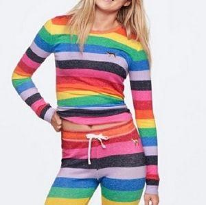 PINK VS Rainbow Pajama Top Size Medium